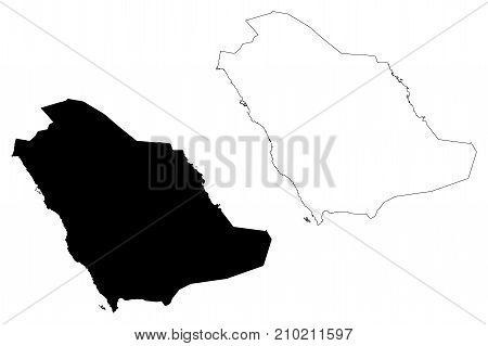 Saudi Arabia map vector illustration , scribble sketch Saudi Arabia