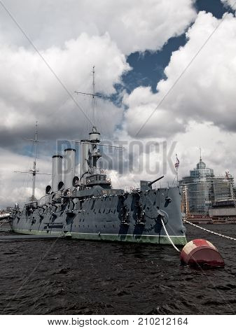 Protected cruiser Aurora moored in Saint-Petersburg Russia