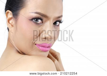 Close up beautiful middle-aged Asian woman's face isolated on white background beauty concept