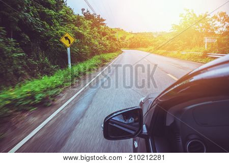Landscape road paved road Rural Roadside View Mountain View. Road transport road. Car running on the street.