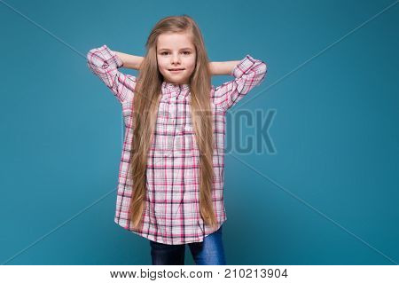 Little Beauty Girl In Shirt With Long Brown Hair
