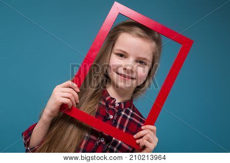 Pretty Girl In Shirt With Long Hair Hold The Framing
