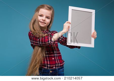 Pretty Girl In Shirt With Long Hair Hold The Frame
