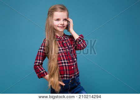 Cute Girl In Shirt With Long Hair Hold The Phone