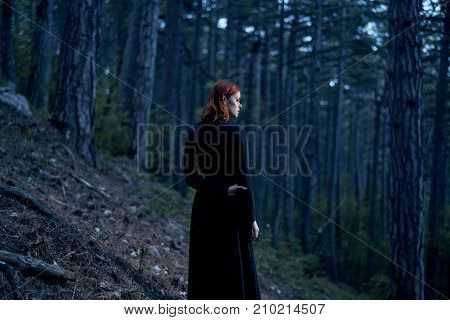 forest, woman in black dress, trees, nature, silence, twilight.