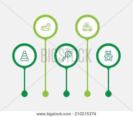 Collection Of Clockwork Car, Rattles, Rocking Horse And Other Elements.  Set Of 5 Baby Outline Icons Set.