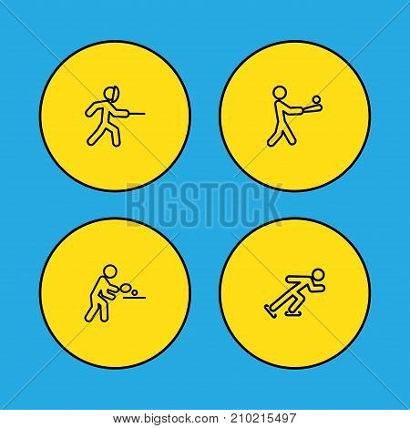 Collection Of Swordplay, Pong Ping, Batting And Other Elements.  Set Of 4 Sport Outline Icons Set.