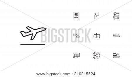 Collection Of Flight, Luggage Trolley, Luggage Check And Other Elements.  Set Of 10 Aircraft Outline Icons Set.