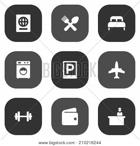 Collection Of Airplane, Bedroom, Billfold And Other Elements.  Set Of 9 Hotel Icons Set.