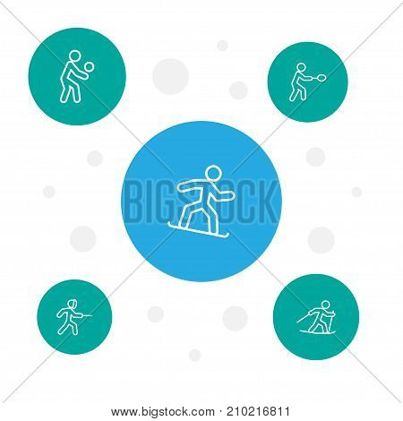 Collection Of Swordplay, Snowboard, Player And Other Elements.  Set Of 5 Sport Outline Icons Set.