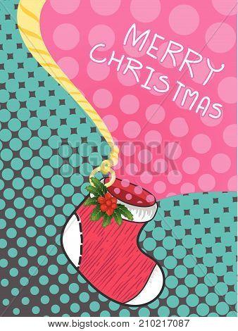 Christmas greeting card with christmas sock decoration  vector illustration