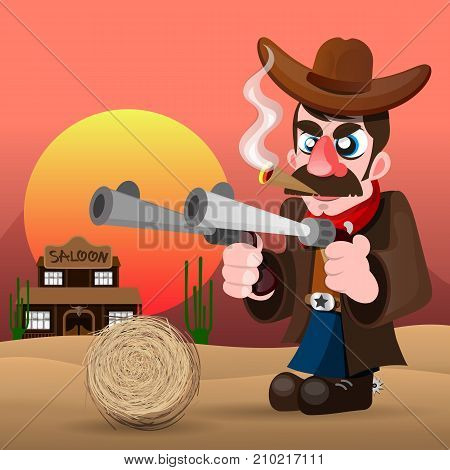Wild west landscape with cool cowboy desert at sunset cactus mountains and western poster with cowboy . Vector illustration.