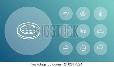 Collection Of Wheat, Apple Pie, Pancakes And Other Elements.  Set Of 10 Cooking Outline Icons Set.