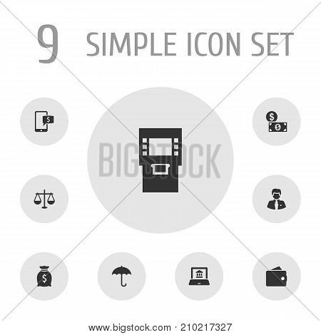 Collection Of Terminal, Money, Electron Report And Other Elements.  Set Of 9 Finance Icons Set.
