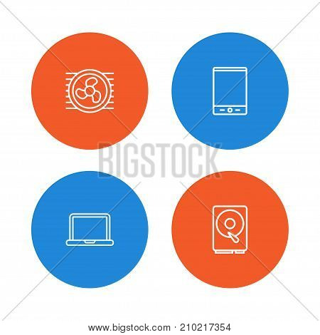 Collection Of Notebook, Hdd, Cooler And Other Elements.  Set Of 4 Computer Outline Icons Set.
