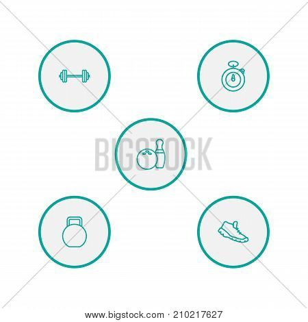 Collection Of Trekking Shoes, Bowling, Stopwatch And Other Elements.  Set Of 5 Fitness Outline Icons Set.