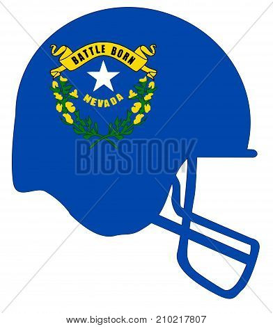The flag of the state of Nevada below a football helmet silhouette