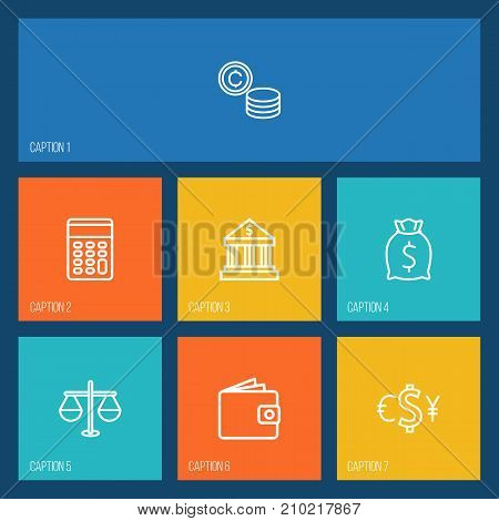 Collection Of Bank, Wallet, Exchange And Other Elements.  Set Of 7 Budget Outline Icons Set.