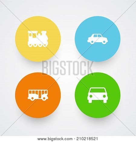 Collection Of Wagon, Side View, Car And Other Elements.  Set Of 4 Transport Icons Set.