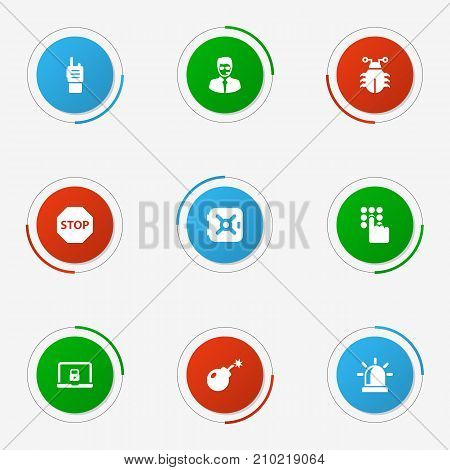 Collection Of Walkie-Talkie, Dynamite, Sign And Other Elements.  Set Of 9 Security Icons Set.