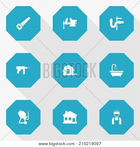 Collection Of Clamp, Pipeline, Hacksaw And Other Elements.  Set Of 9 Construction Icons Set.