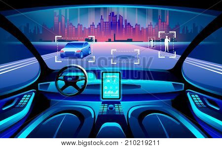 Autonomous smart car inerior. Self driving at night city landscape. Display shows information about the vehicle is moving GPS travel time scan distance Assistance app. Future concept