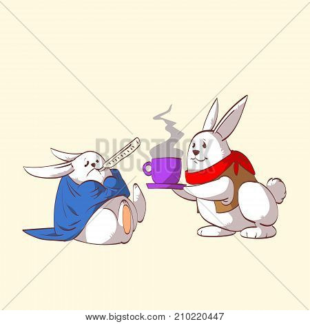 Colorful vector illustration of two cartoon rabbits one sick and one taking care of the other serving tea