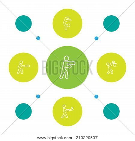 Collection Of Box, Basket, Gymnastic And Other Elements.  Set Of 5 Athletic Outline Icons Set.