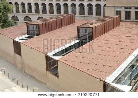 GIRONA, SPAIN - JULY 24, 2017: Roof of the library of the Letters faculty at the university of Girona Catalonia northeastern Spain.