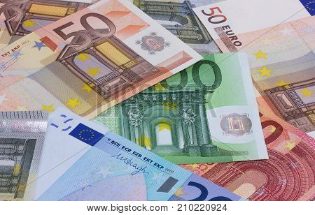 euro money of different denominations abstract background