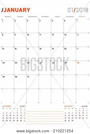 January 2018. Vector Print Template. Monthly Calendar Planner For 2018 Year. Week Starts Monday. 3 M