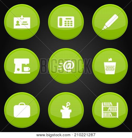 Collection Of Urn, Label, Book And Other Elements.  Set Of 9 Bureau Icons Set.