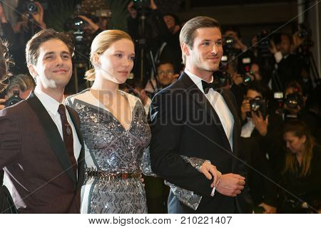 CANNES, FRANCE - MAY 19, 2016: Gaspard Ulliel, Lea Seydoux, Xavier Dolan attend the 'It's Only The End Of The World (Juste La Fin Du Monde)'  premiere during the 69th annual Cannes Film Festival