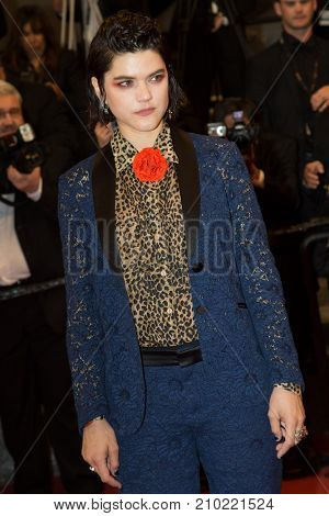 CANNES, FRANCE - MAY 19, 2016: French singer Soko  attends the 'It's Only The End Of The World (Juste La Fin Du Monde)'  premiere during the 69th annual Cannes Film Festival