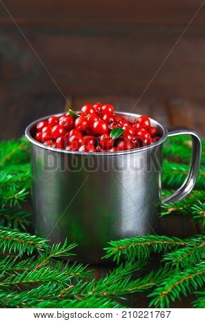 Cowberry, Foxberry, Cranberry, Lingonberry In An Aluminum Mug On A Brown Wooden Table. Surrounded By
