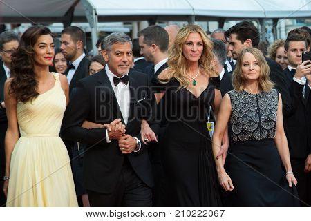 CANNES, FRANCE - MAY 12, 2016: Julia Roberts, George Clooney, Amal Clooney, Jodie Foster  attend the 'Money Monster' Premiere. 69th annual Cannes Film Festival at the Palais des Festivals