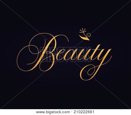 Beauty sign lettering calligraphy. Vector lettering label design