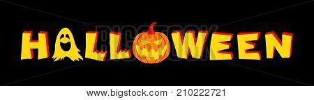 Halloween lettering. Vector illustration isolated on black