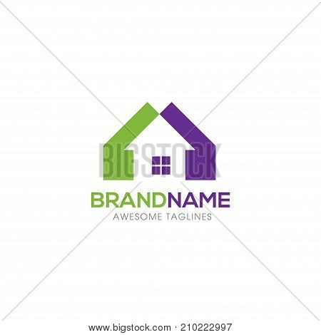 Real estate vector logo, Home with window simple house symbol, realty building logo