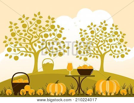vector basket of apples, table with apple drink and pumpkins in autumn garden