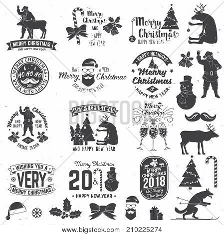 Merry Christmas and Happy New Year 2018 retro template with Santa Claus, Christmas tree, gifts and reindeer. Vector illustration. Xmas design for congratulation cards, invitations, banners and flyers.