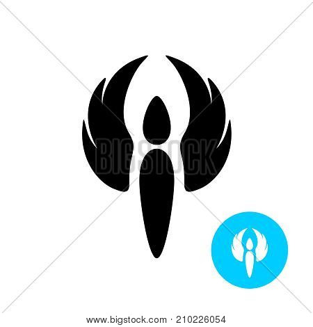 Angel with wings black silhouette logo. Figure of an angel with winged hands up.