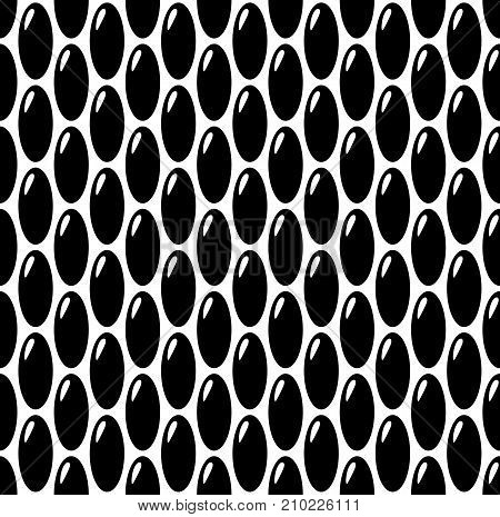 Black on white oval eggs or seeds seamless pattern background. Rough bumped surface.