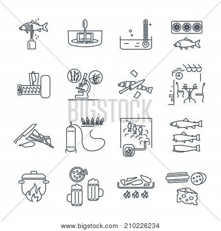 set of thin line icons restaurant cafe kitchen bar production process