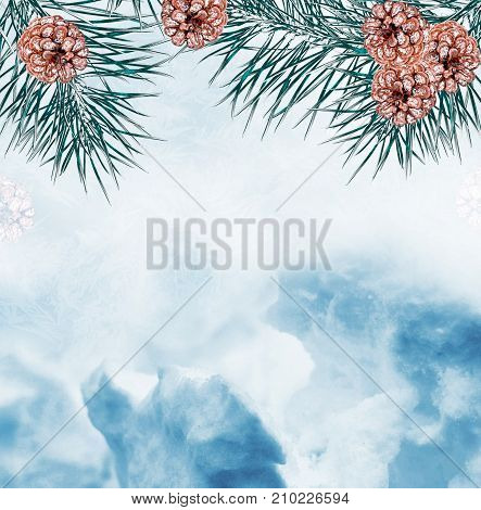 Christmas background. Frozen winter forest with snow covered trees.