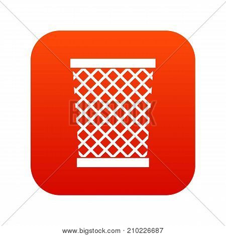 Wastepaper basket icon digital red for any design isolated on white vector illustration