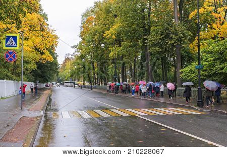 Pushkin, Russia - 5 October, Group of tourists under umbrellas, 5 October, 2017. A rainy day in an autumn park.