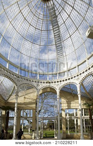 Interior of the Great Conservatory in Syon Park which was bult in the 1920's by the 3rd Duke of Northumberland. It is open to the public in the summer season and is a popular venue for weddings. Hounslow Middx England 2017
