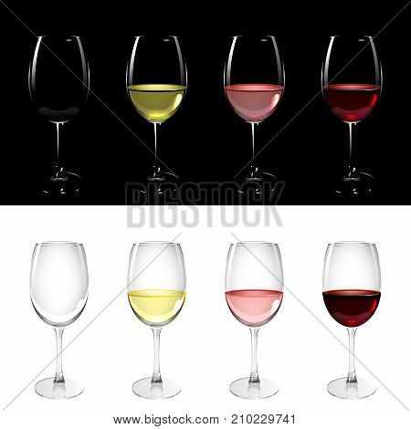 wineglass with white pink and red wine on black and white background