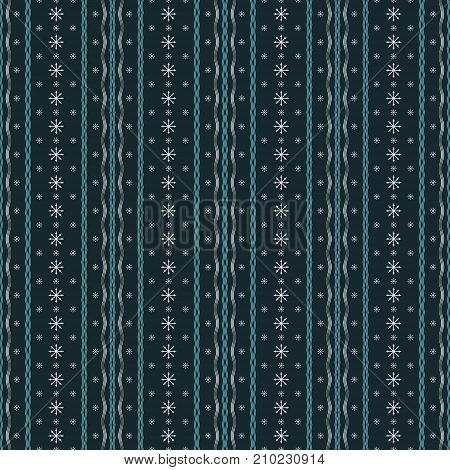 Seamless abstract geometric pattern of vertical wavy lines and snowflakes. Vector illustration for cozy winter design